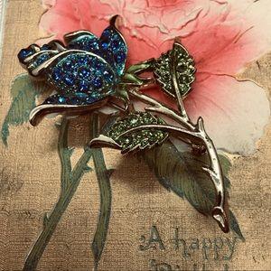 Vintage Large Blue Rhinestone Rose Brooch